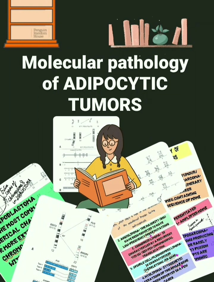 Molecular pathology of ADIPOCYTIC TUMORS Molecular pathology of ADIPOCYTIC TUMORS – based on WHO 2020 Soft tissue and bone tumors. LIPOMAS The pathogenesis of lipomas is related to reactivated expression of the HMGA2 protein, which plays a role in the development of the mesodermal lineage during embryogenesis ANGIOLIPOMA– The majority (80%) have been reported to have low-frequency PRKD2 mutations. CHONDROID LIPOMA– is characterized by a recurrent t(11;16) (q13;p13) chromosomal translocation. SPINDLE CELL/PLEOMORPHIC LIPOMA: is characterized 13q deletions /RB GENE. MYOLIPOMA: Cytogenetic alterations of the HMGA2 gene have been reported in a few cases Pathology facts!! Quizzes, illustrations and much morePublished byPathology mcqs LIPOSARCOMA ATYPICAL LIPOMATOUS TUMOUR/WELL DIFFERENTIATED LIPOSARCOMA: characterized by supernumerary ring and giant marker chromosomes,containing amplified sequence of MDM2 DEDIFFERENTIATED liposarcoma– AMPLIFIED MDM2 MYXOID LIPOSARCOMA– Translocations producing FUS-DDIT3 or rarely EWSR1-DDIT3 fusion transcripts are pathognomonic PLEOMORPHIC LIPOSARCOMA: Complex karyotypes. . The most frequent mutations involve TP53 and NF1. Pathology facts!! Quizzes, illustrations and much morePublished byPathology mcqs OTHER ADIPOCYTIC TUMORS HIBERNOMA: Cytogenetically, almost all hiber no mas have breakpoints in chromosome arm 11q, with a distinctive clustering to 11q13. LIPOBLASTOMA: The most common numerical change is one or more extra copies of chromosome 8, with or without concurrent rearrangement of 8q11-q13